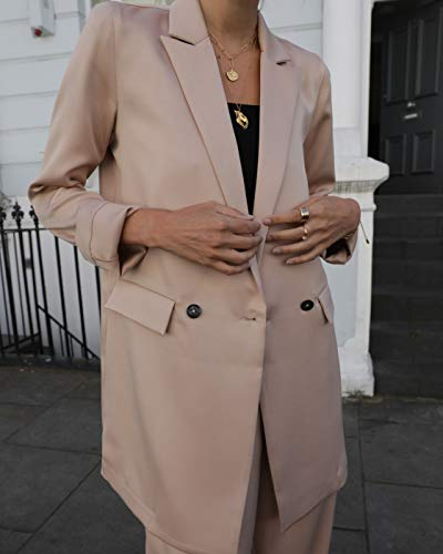 The Drop Women's @leoniehanne Beige Loose Double Breasted Silky Long Blazer