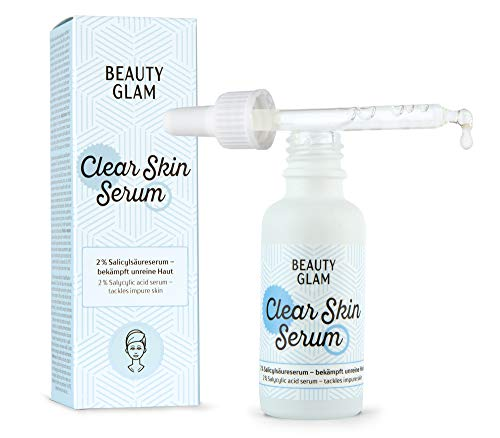 Beauty Glam - Clear Skin Serum - Gesichtsserum gegen Akne und unreine Haut mit 2% Salicylsäure (BHA) - für ein klareres Hautbild - Vegan, ohne Farbstoffe, silikonfrei & parabenfrei - 30 ml