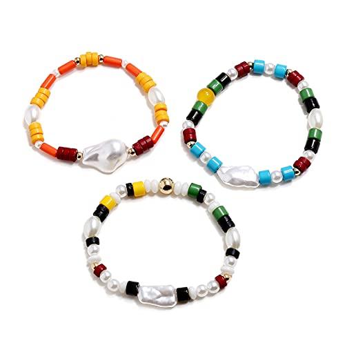 Sttiafay Pulseras apilables de perlas múltiples pulseras elásticas hechas a mano, coloridas pulseras para mujeres y niñas (3 piezas)