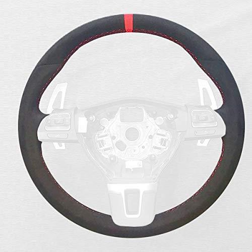 RedlineGoods Cubierta del Volante Compatible con Volkswagen Passat CC 2009-14 Alcantara Negra Costura Azul