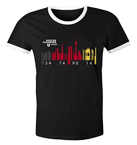 Herren WM-Shirt Deutschland WM Flagge Barcode Skyline Berlin 2018 Retro schwarz-weiß M