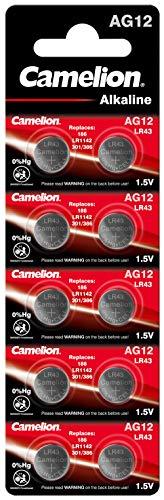 Camelion 12051012 Alkaline Knopfzellen ohne Quecksilber AG12/LR43/LR1142/386/1,5 Volt, 10er-Pack