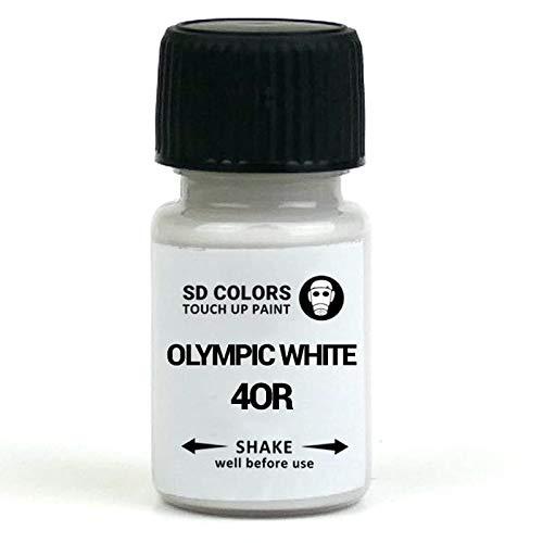 SD COLORS OLIMPIC WHITE 40R GAZ 8624 GOW nuovo vernice per ritocchi 8 ML riparazione pennello graffio chip colore codice 40R GAZ 8624 GOW OLIMPIC BIANCO (Just Paint)
