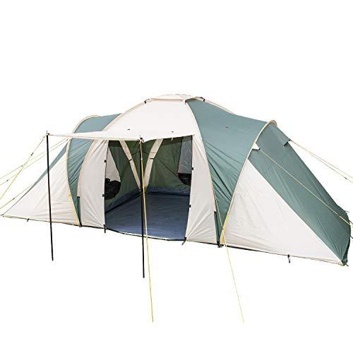 skandika Daytona 6-Personen Kuppel-/Familienzelt, 3 Schlafkabinen, 3000mm Wassersäule, 195cm Stehhöhe (grün/beige)