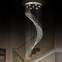 ZMD 現代のクリスタルシャンデリア螺旋階段ランプLEDシンプルなクリスタルランプ天井ランプリビングルームランプの寝室のランプ7ライト60 * 180センチメートル