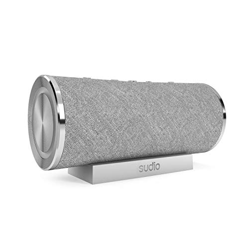 Sudio Femtio Wireless Bluetooth Speakers - Portable, IPX6 Water Protection, Dual Play, 14h Play Time, Android, iOS (Silver)