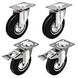 """Online Best Service 4 Pack 5"""" Swivel Casters 2 With BRAKE Wheels Rubber Base with Top Plate & Bearing Heavy Duty"""
