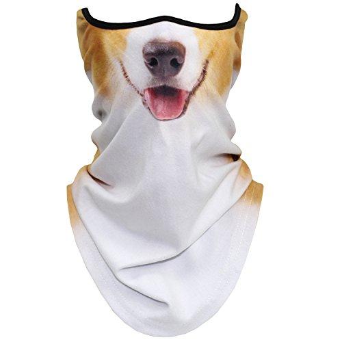Wtactful 3D-Tier-Halstuch, winddicht, Gesichtsmaske, Schal für Ski, Halloween-Kostüm, Totenkopf Skelett Geist, Einheitsgröße