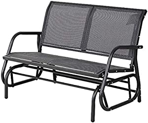 Outdoor Rocking Chair For 2 People With Wide Seat Curved Armrests And Tall Backrest Comfortable Glider Swinging Lounge Chair Weight Capacity Up To 440 LBS Ideal For Gardens Patios Porches And Backyard