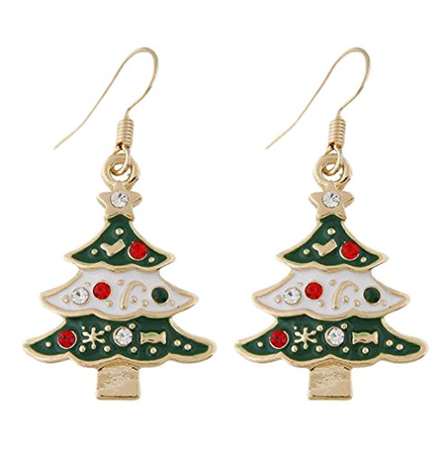 Da.Wa Árbol de Navidad Pendientes Novedad Pendientes Lindo Niños Niñas Mujeres Gota de Oído Studs(Verde)