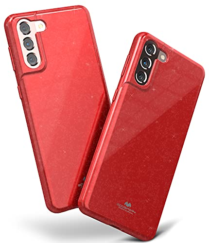 Goospery Pearl Jelly Case for Galaxy S21 (6.2 inches) Slim Thin Rubber Case Cover (Red) S21-JEL-RED