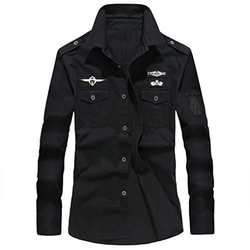 MRULIC Herren Herbst Militär Slim Button Langarm Stehkragen Shirt Top(Schwarz,EU-54/CN-4XL)