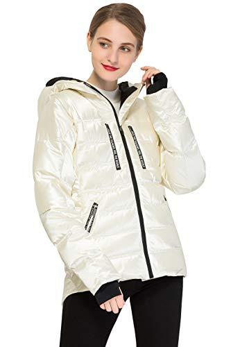 Orolay Chaqueta de Plumíferos Corta con Capucha para Mujer blanco X-Small