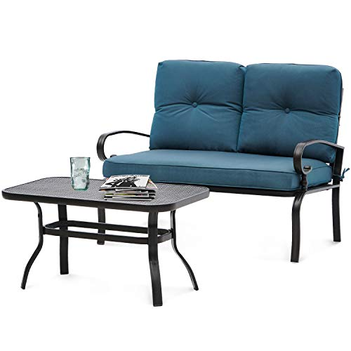SOLAURA Loveseat Set Patio Outdoor Furniture 2 Piece Wrought Iron Frame Peacock Blue Cushions Bench Sofa with Coffee Table