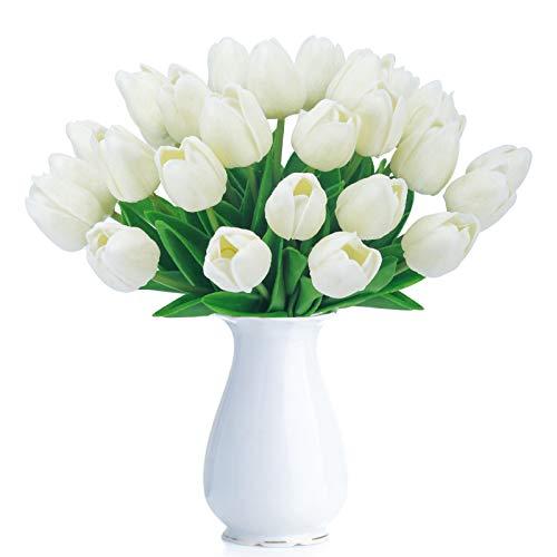 BOMAROLAN Artificial Tulip Fake Holland Mini Tulip Real Touch Flowers 24 Pcs for Wedding Decor DIY Home Party (Cream)