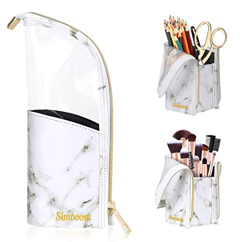 Simboom Makeup Brush Organizer Bag, Brushes Dispaly Holder Cosmetic Case for Travel Home, Waterproof Stand-Up Pouch with Divider for Women Girls, Kids Pencil Case - White