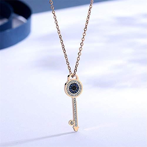 Collar Colgante Joyería Collar De La Boda del Collar De La Llave De Las Señoras del Cristal Azul del Oro Rosa del Acero Inoxidable 316L