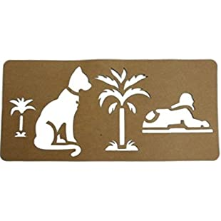 Ancient Egypt Educational Crafts ~ Egyptian Symbols Stencil 30cm x 14cm Featuring Sphynx, Sacred Egyptian Cat Symbol and Palm Trees ~ Creative Crafts for History Topics:Abra-sua-mei