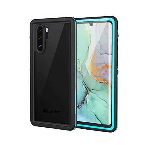 Lanhiem für Huawei P30 Pro Hülle, IP68 Wasserdicht Handyhülle Huawei P30 Pro 360 Grad Schutzhülle, Stoßfest Staubdicht Schneefest Outdoor Panzerhülle mit Eingebautem Bildschirmschutz, Blau