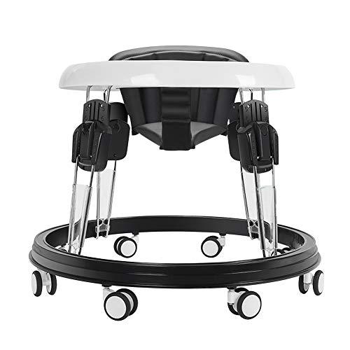 Y&MoD Andador Bebés Anti-vuelco y 9 Ajustable de Altura, Plegable Andador con Bandeja Grande, Multifuncional Silla para 6-18 Meses Bebés, Cojín PU (Negro)