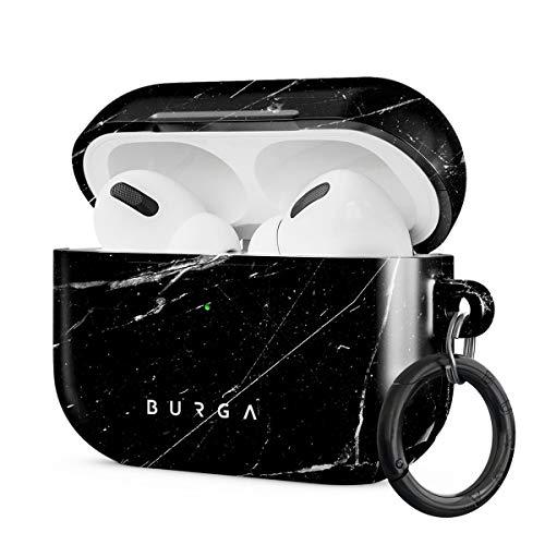 Burga AirPods Hardcase, Kompatibel mit Dem Ladecase für Apple AirPods PRO 2019, Schwarz Marmor Muster Black Marble, Schutzhülle aus Hartplastik