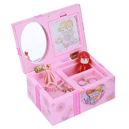 LIUJUAN Joyero Grande para Mujer Joyero Pink Girl Music Box Joyero Musical Bailarina Rosa Alicia En El País De Las Maravillas Music Boxes Joyero para Regalo De Niña-Do