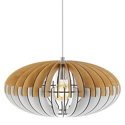 EGLO Suspension Sotos - 1 ampoule - Vintage - En acier et bois - Nickel mat - Blanc - Lampe de salle à manger - Lampe de salon suspendue avec douille E27