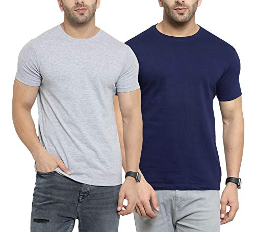 Scott International Men's Regular Fit T-Shirt (Pack of 2) (SS20-2RN-BU-GR-L_Navy Blue &...