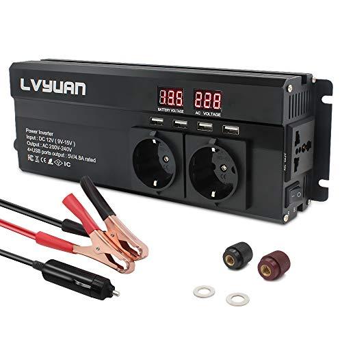 Cantonape Spannungswandler 12V 230V /1000w (2000w Peak Wechselrichter mit 3 Steckdose und 4 USB LED Spannungsanzeige schwarz