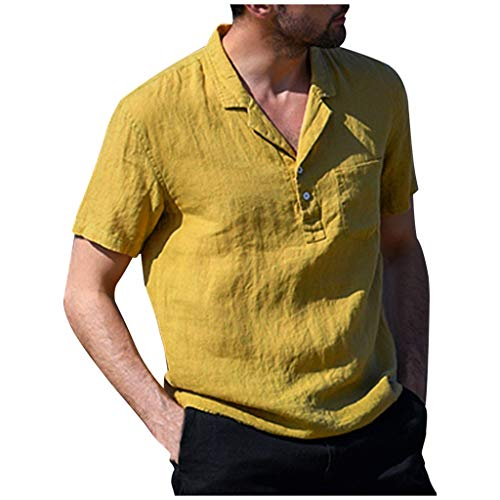 Herren Vintage Pure Color Leinen Solid Kurzarm Retro Tops Bluse T-Shirts für Zuhause(Gelb,Medium)