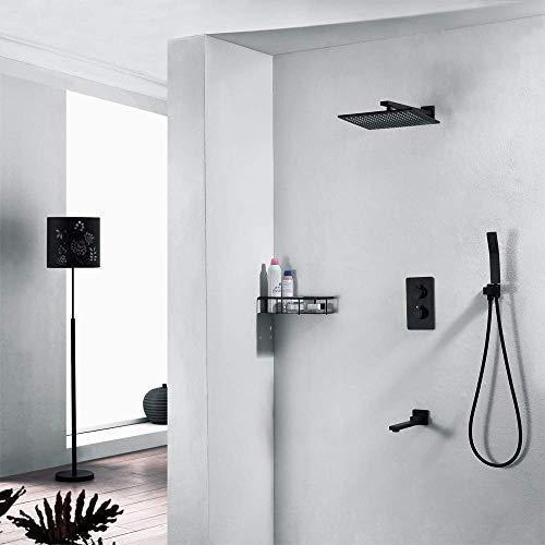 FYYONG En la pared del termostato Negro 25cm de ducha cuadrado grupo de presión de pulverización superior de cobre Sistema de ducha grifo de la ducha 3 modos Hermosa práctica