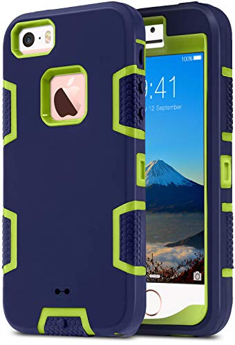 ULAK iPhone SE 2016 Hülle, iPhone 5/5S Hülle 3 in 1 Hybrid Stoßfest Handyhülle Hart PC + Weiche Silikon Schutzhülle Tasche Hülle Cover für Apple iPhone 5/5S/SE (2016) - Marine Gelb
