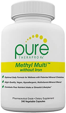 Methyl Multi Without Iron - 240 Vegetable Capsules   This Vegan Formula Features Activated Vitamin Cofactors and Folate as Quatrefolic® (5-MTHF)   Patented Albion TRAACS Chelated Mineral Complexes