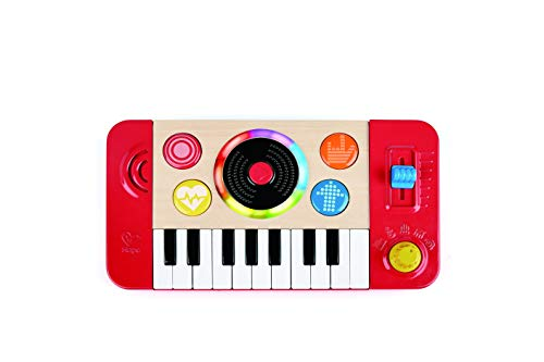 Hape Kids Portable DJ Mix and Spin Studio Music Toy Playset with Lights, Sound, and 18 Key Keyboard for Kids Ages 1 to 5 Years