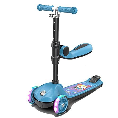 JIANGCJ Patinete 3 en 1 para niños y niñas, ruedas luminosas de poliuretano para niños y niñas, asiento ajustable y movible, niños mayores de 1 año y juguetes para niños, color rosa (color: azul)