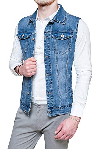 Evoga Giubbotto smanicato Jeans uomo casual denim cardigan gilet in cotone (M)