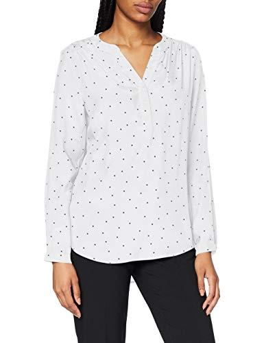 Seidensticker Damen V-Neck Regular Fit Langarm Fashion Bluse, Weiß (weiß-blau), 42