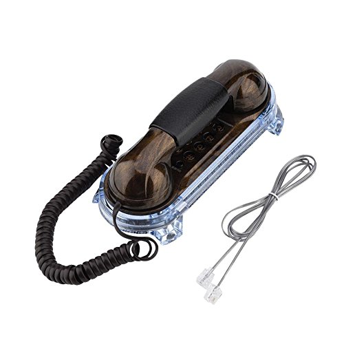 Zhiyavex Teléfono Retro Antiguo montado en la Pared, teléfono Fijo de Moda con Textura de Metal, con Botones Redondos y luz Inferior, para Colocar en la Pared o en el Escritorio(Melocotón Negro)