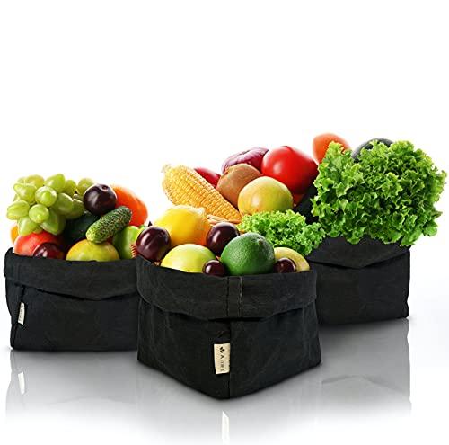 Set 3 Cestas Organizadoras de Papel Kraft Eco - Fruteros de Cocina Modernos Negro - Paneras para Guardar el Pan, Bolsa o Cesta Pan - Maceteros Decorativos Interior, Macetas Decorativas y Cubre