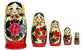 Muñeco de madera Semenowskay con tela amarilla (5 piezas, 11 cm)