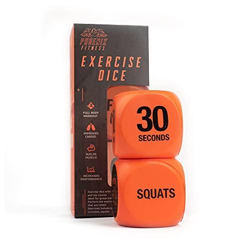 Phoenix Fitness RY1051 träningskub för träning kul – fitness beslutande kub – växla träningsrutiner, hit och övningar – hem och gym – orange