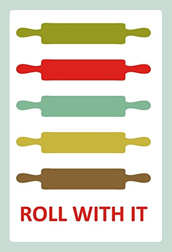 Schatzmix metalen bord Roll with it rolling pin noedelhout metalen bord wanddecoratie 20x30 tin sign