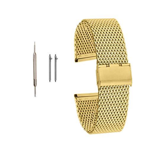 Muen Bracelet de montre à boucle en acier inoxydable doré à libération rapide compatible avec Samsung Smart Huawei Watch 22 mm 20 mm (20 mm, doré)