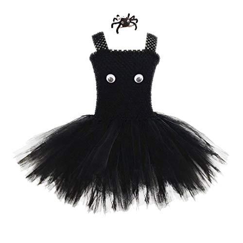 Amosfun Falda de tutú para niñas de Halloween con Pinza de Pelo de araña Conjunto de Disfraces de Halloween Lindo Disfraz de Fiesta de Disfraces de Halloween Cosplay (Talla m)
