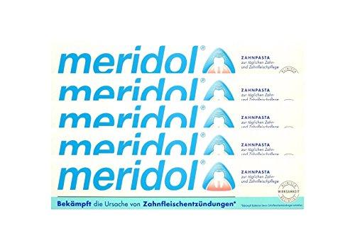 5x meridol Zahnfleischschutz Zahnpasta 75ml Zahncreme, Weisse Zähne