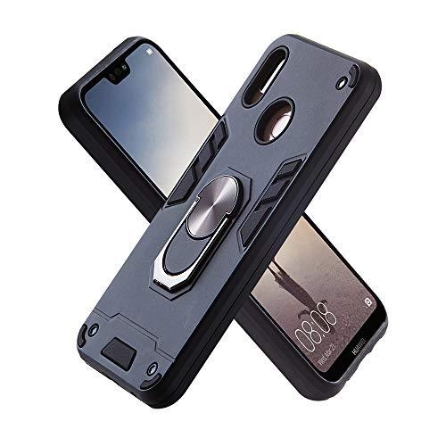 FAWUMAN Hülle für Huawei P20 lite (2019) mit Standfunktion, PC + TPU Rüstung Defender Ganzkörperschutz Hard Bumper Silikon Handyhülle stossfest Schutzhülle Case (Schwarz)