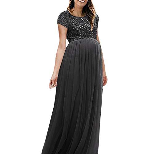 Kleider für Schwangere, Schwangere Pailletten Maxikleider Schwangerschaftskleid Langes Mesh Cocktailkleid Elegant Abendkleider für Schwangere Umstandskleid