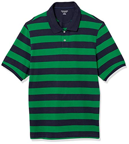 Amazon Essentials Herren Poloshirt, Green/Navy Rugby Stripe, L (52)