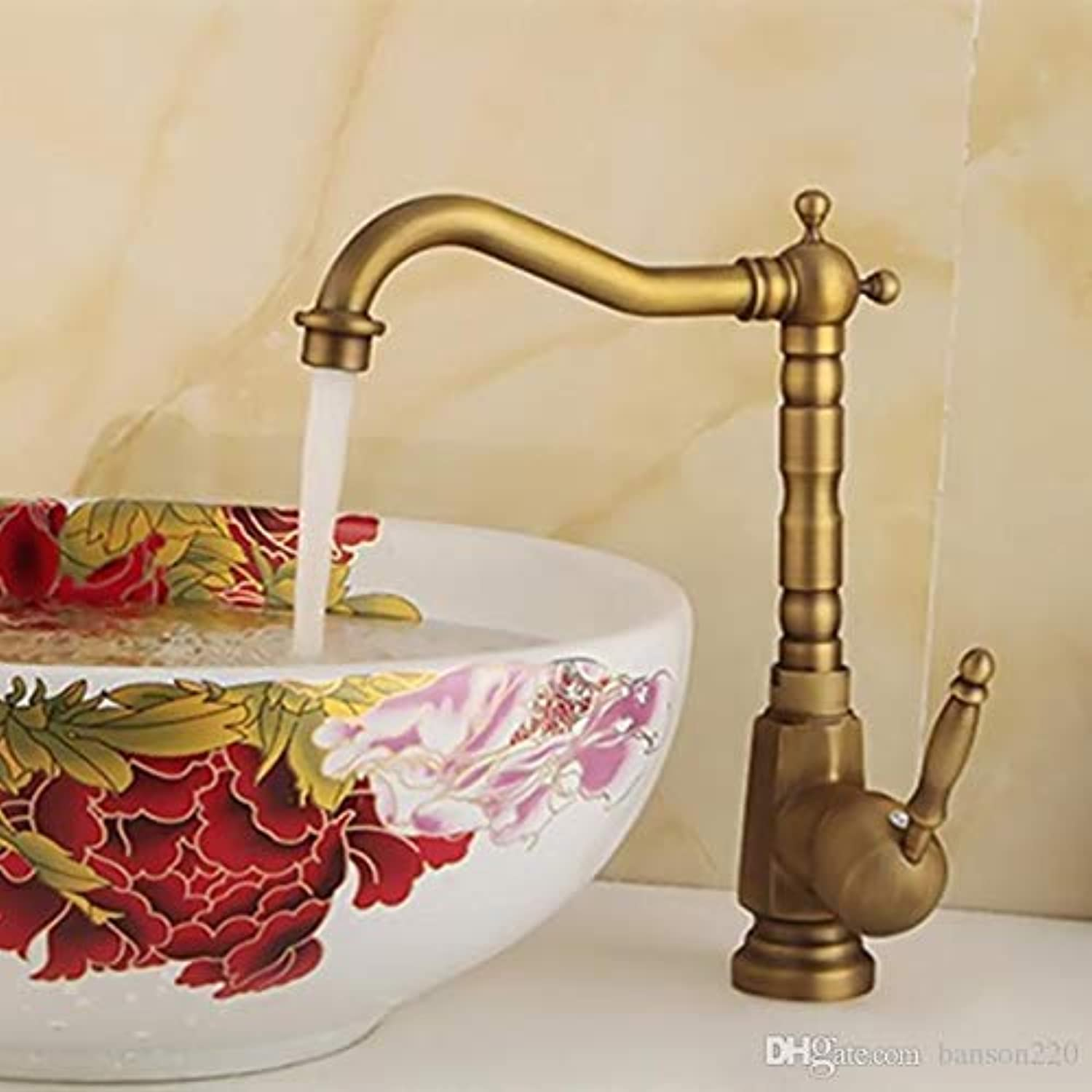 Oudan Solid Brass Sink Faucet with Single Handle Single Hole Antique Sink Faucet (color   -, Size   -)
