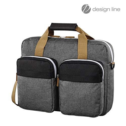 Hama Laptoptasche 40 cm, 15,6 Zoll (gepolsterte Umhängetasche mit Tragegurt und Handgriff, Schultertasche für Damen und Herren, Aktentasche mit Platz für Zubehör) schwarz, grau